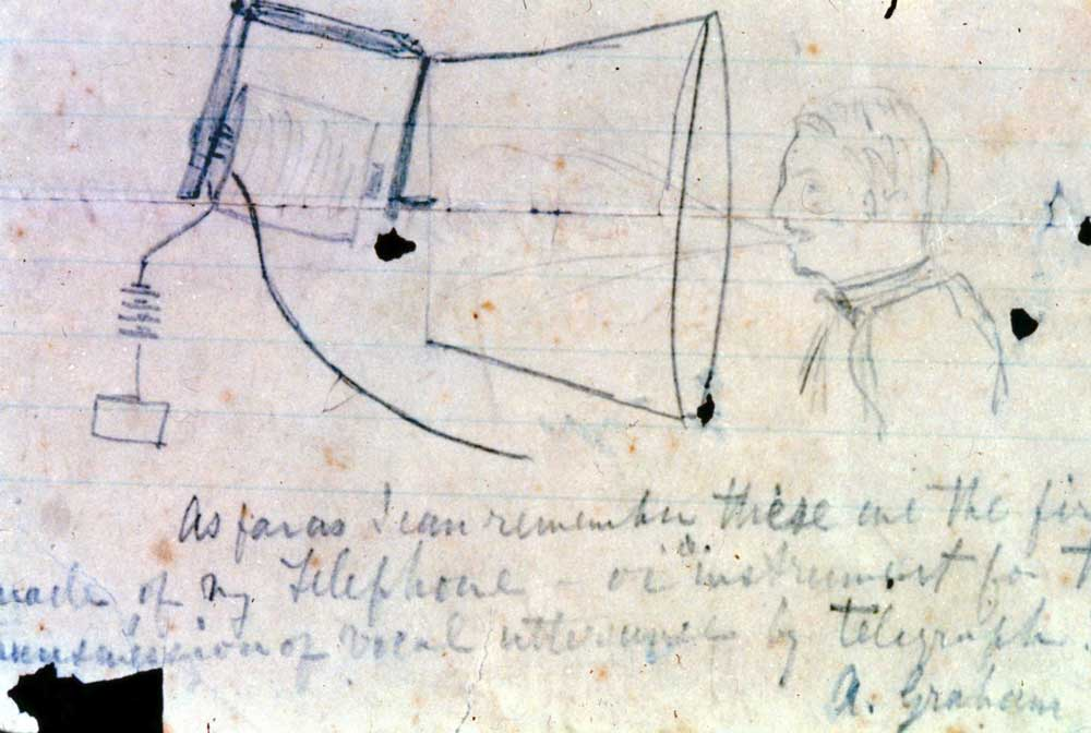 Alexander Graham Bell sketch of telephone